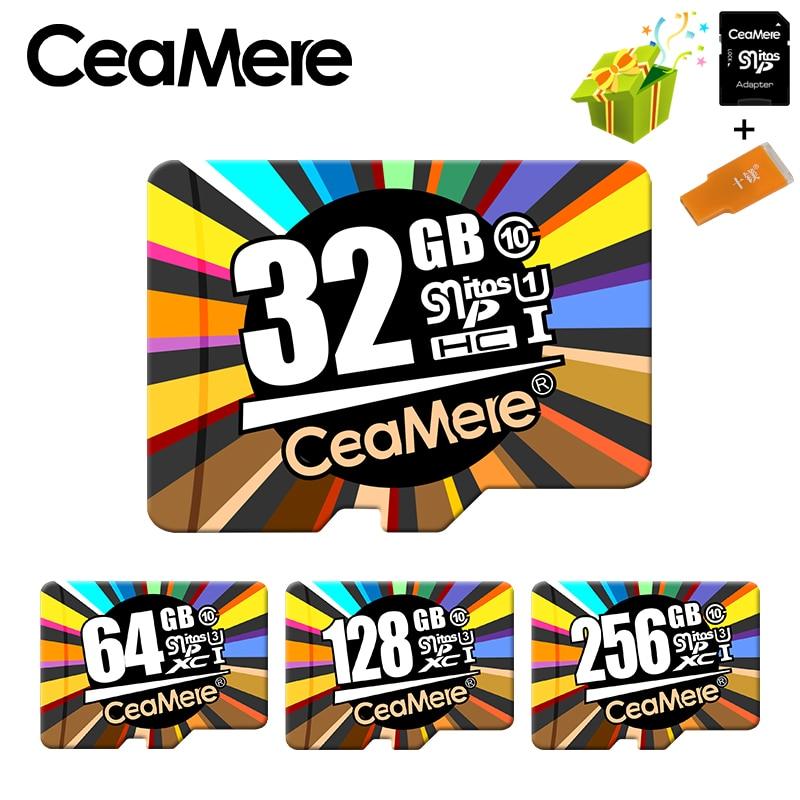 Ceamere זיכרון כרטיס 256 gb 128 gb 64 gb U3 UHS-3 32 gb מיקרו sd כרטיס Class10 UHS-1 פלאש כרטיס זיכרון Microsd TF/SD כרטיסי עבור Tablet