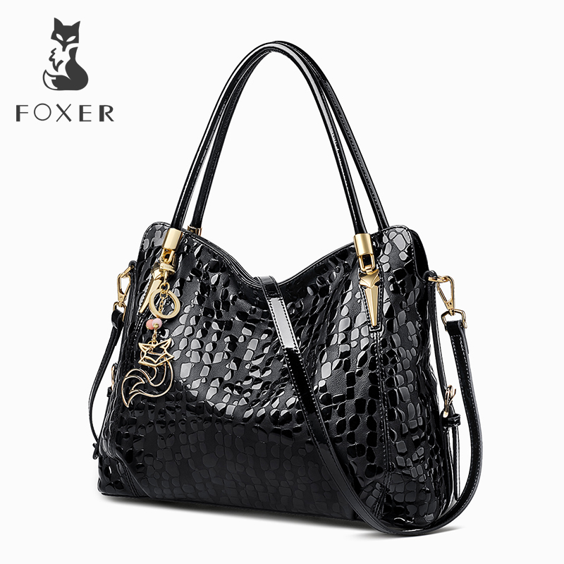 FOXER Brand Women Lady Genuine Leather Shoulder Bag Sequin Cowhide Handbags Female Luxury Bags Tote Purse