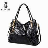 FOXER Brand Women Lady Genuine Leather Shoulder Bag Sequin Cowhide Handbags Female Luxury Bags Tote Purse for Women