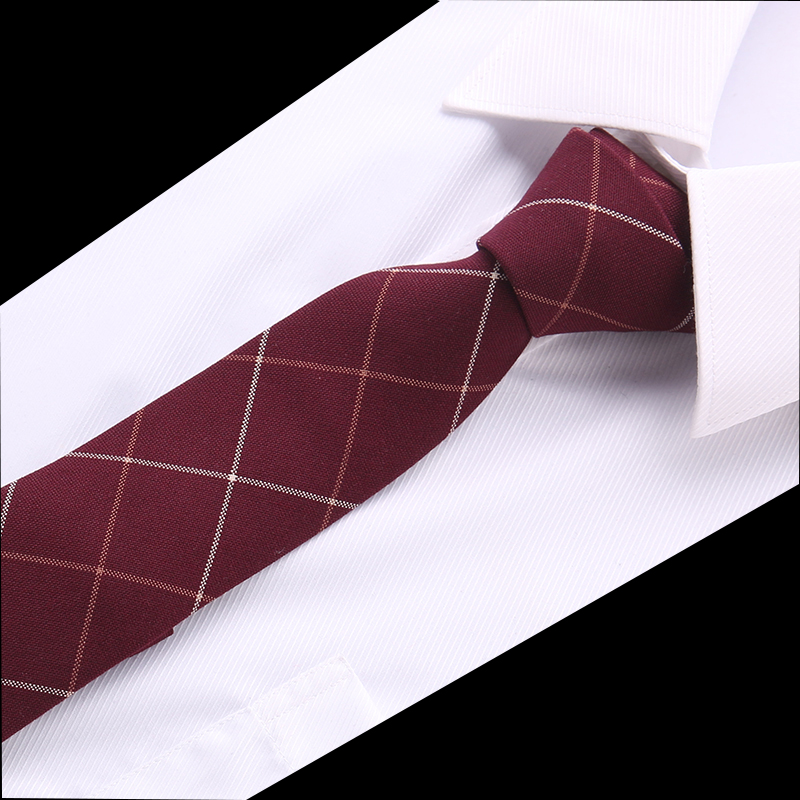 New Classic Ties For Men Business Paisley Dark Red Burgundy Jacquard Woven 100% Cotton Tie Plaid Wedding Party Men's Tie Necktie