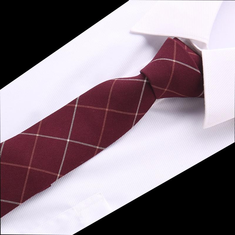 New Classic Ties For Men Business Paisley Dark Red Burgundy Jacquard Woven 100% Cotton Tie Plaid Wedding Party Men's Tie Necktie