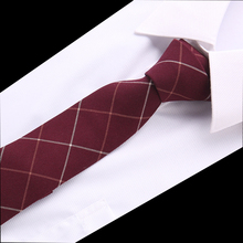 New Classic Ties for men Business Paisley Dark Red Burgundy Jacquard Woven 100% cotton Tie Plaid Wedding Party Mens Necktie