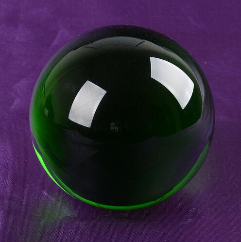 Hot Selling 80mm Romantic Green Crystal Shinning Ball Crystal Sphere Glass With Magic Feng shui Ball for Wedding Supplies