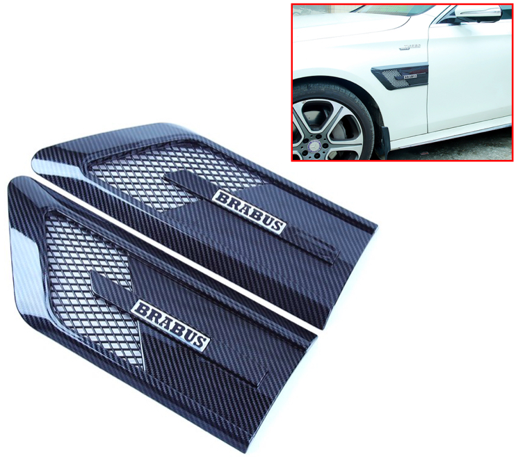 RollsRover Carbon Fiber Style ABS Front Fender Vents Molding Trim Set for Mercedes Benz C E