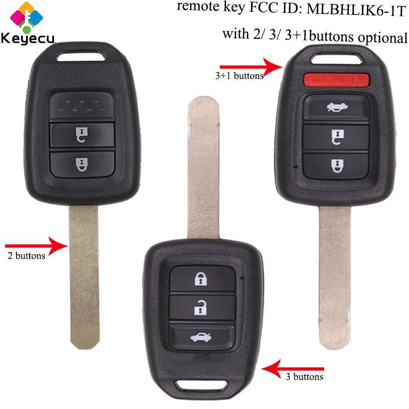 KEYECU paire clé de voiture à distance de remplacement-2/3/3 + 1/4 boutons & 433 MHz & ID47 puce-FOB pour Honda Accord Civic Fit MLBHLIK6-1T - 4
