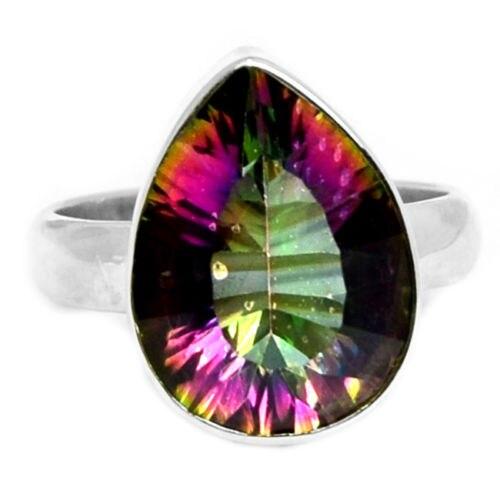 Genuine Mystic Topaz Ring 100%  925 Sterling Silver Size: 7.75,  AR0450