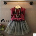 2016 summer new 2pcs baby girls clothing set letter style vest+tutu dress gray kids clothes set suit 2-7T children ropa mujer