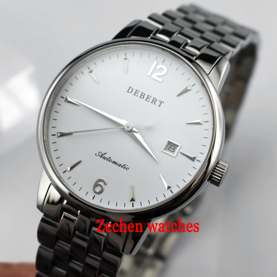 Debert 40mm Date Sapphire Glass sliver case White Dial MIYOTA Automatic Men's Watch Arabic number and roma marks mens watch цена и фото