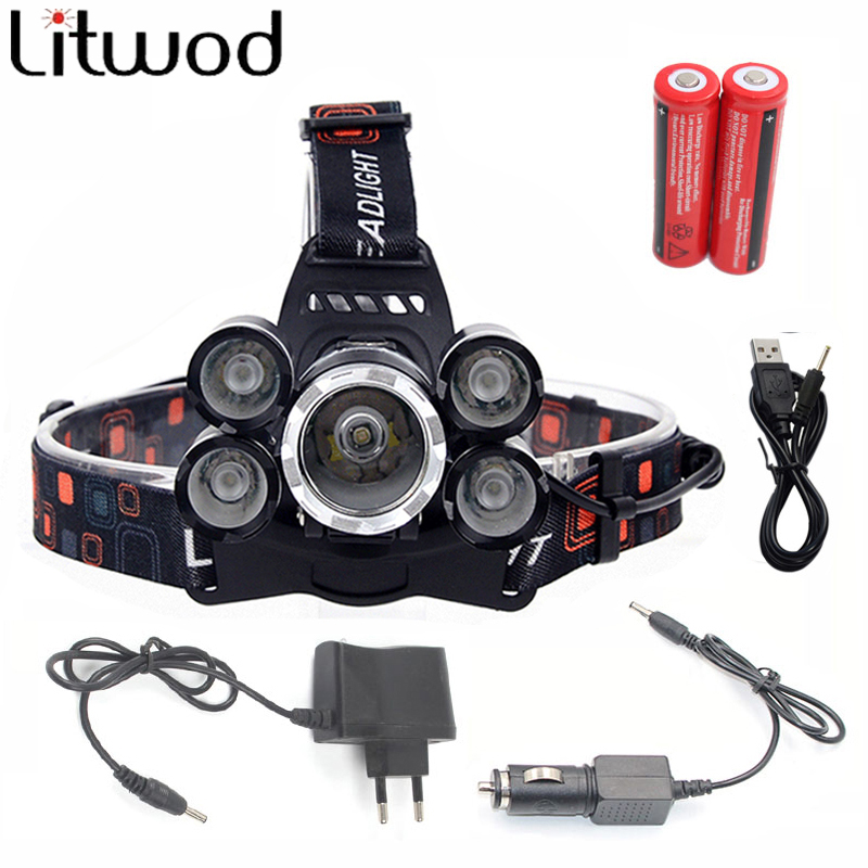 NEW 12000Lm XML T6 3/5 LED Headlight Headlamp Head Lamp Light 4 mode torch 2x18650 battery+EU/US Car charger for fishing Lights head torch headlamp cree 1 xml t6 2 r5 led headlight 9000lm 4 modes head flashlight for hunting fishing led 18650 head lamp