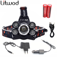 NEW 12000Lm XML T6 3/5 LED Headlight Headlamp Head Lamp Light 4 mode torch 2×18650 battery+EU/US Car charger for fishing Lights