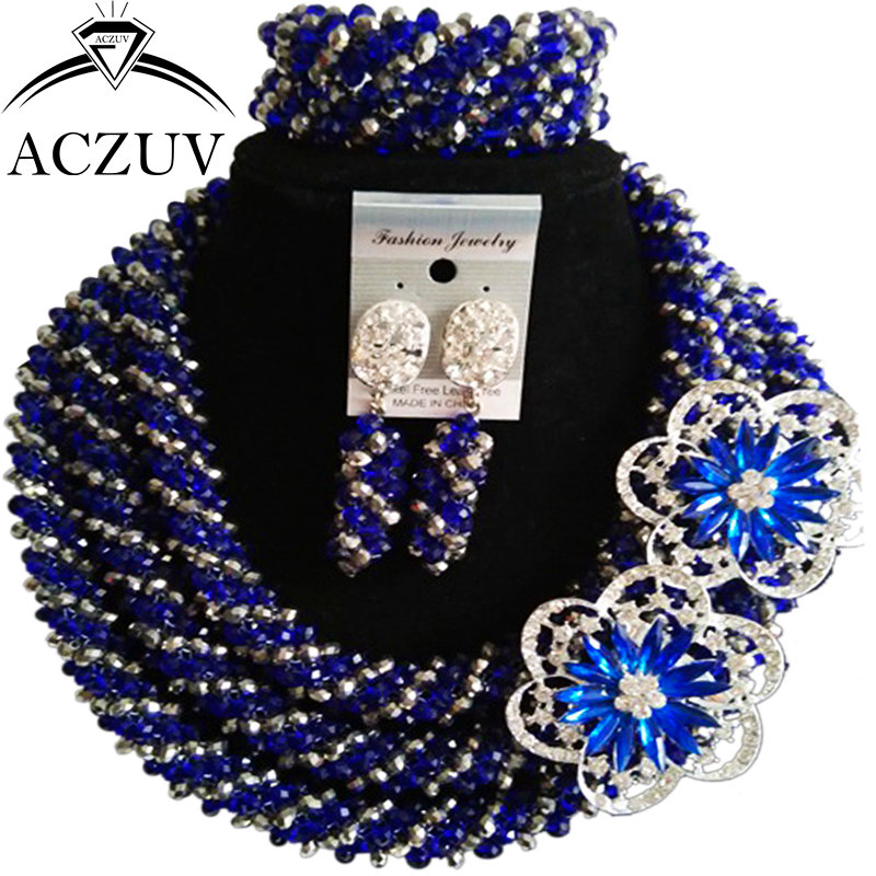 ACZUV Big Necklace and Earrings Bracelet Royal Blue Silver Crystal African Beads Jewelry Set Nigerian Wedding Accssories A3R020