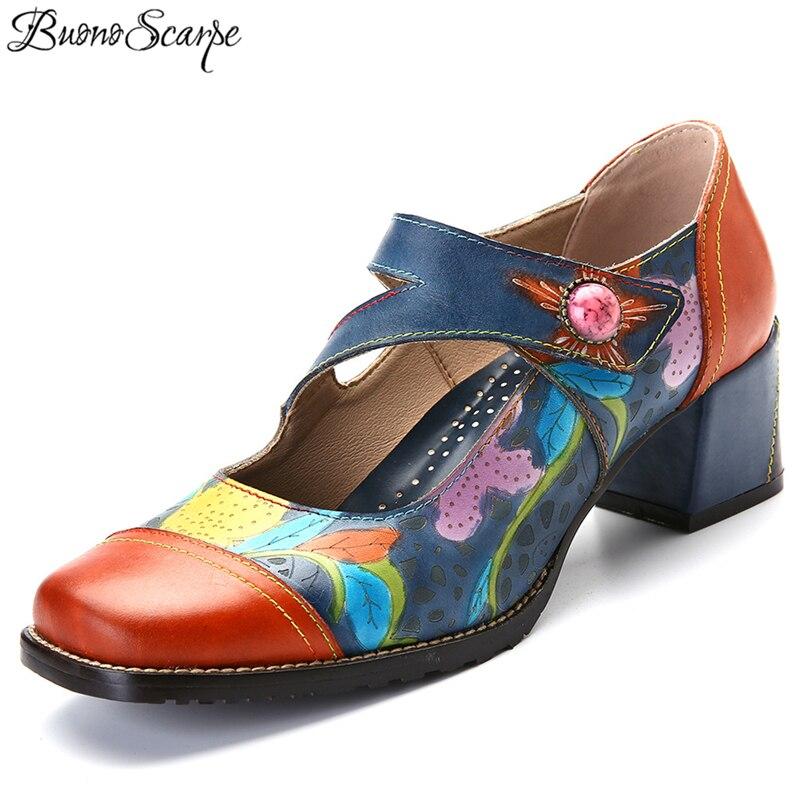 BuonoScarpe New Handmade Leather Fashion Women s Shoes Mary Jane Fretwork Shoes Flower Color Patchwork Chunky