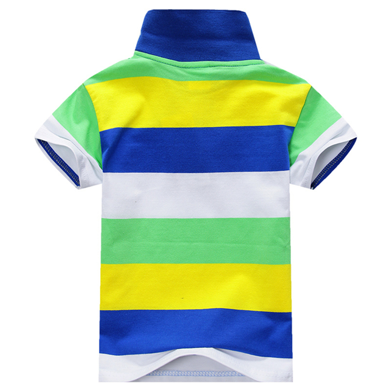 Boy Striped Summer Polo Shirts Cotton Short Sleeve Turn-down Collar Buttoned Sports Tees School Children Clothing Short Sleeve T