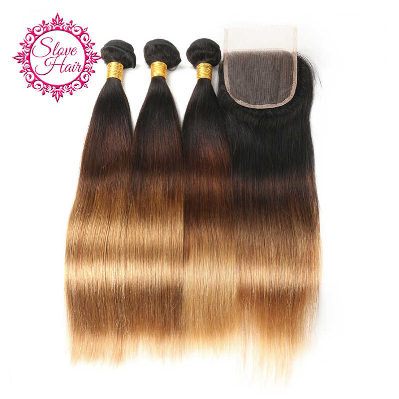 3 Tone Ombre Bundles With Closure Remy 1B/4/27 Brazilian Straight Blonde Dark Roots Human Hair Weave Extension With Lace Closure