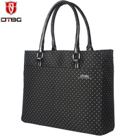 2017 DTBG Briefcase Laptop Bag 15 6 Inch Laptop Handbag Women Tote Lovely Dots Girl Waterproof