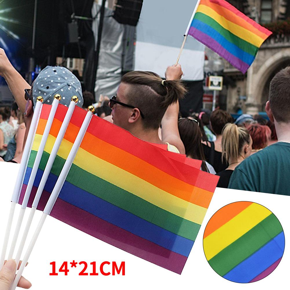 14 21cm LGBT Flag For Lesbian Gay Pride Colorful Rainbow Flag For Gay 14 21CM Home Decor Gay Friendly LGBT Flag in Flags Banners Accessories from Home Garden