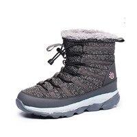 Winter Schnee Warme Thermische Baumwolle Beflockung Dicken High Top Wanderschuhe High Top Stiefeletten Frauen Turnschuhe Outdoor Eis Weibliche
