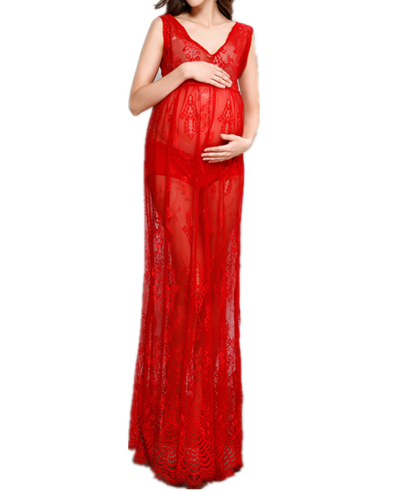 Maternity Dress Maternity Photography Props Maternity Dresses Photography Props Lace Red Pregnancy Woman Photo Shooting Clothes