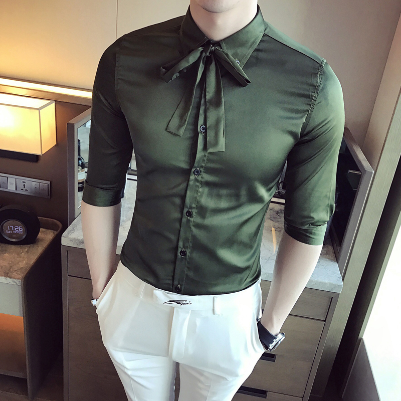 2017 Green Shirts Mens Wedding Shirts Chemise Mariage Homme Red Tuxedo Shirts Mens Blue White Bowknot