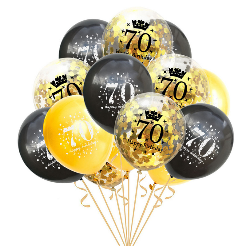 15pcs set 12 inch Confetti Balloons Latex Clear Adult Birthday Balloons 18 30 40 50 Anniversary Wedding Party Decoration in Ballons Accessories from Home Garden