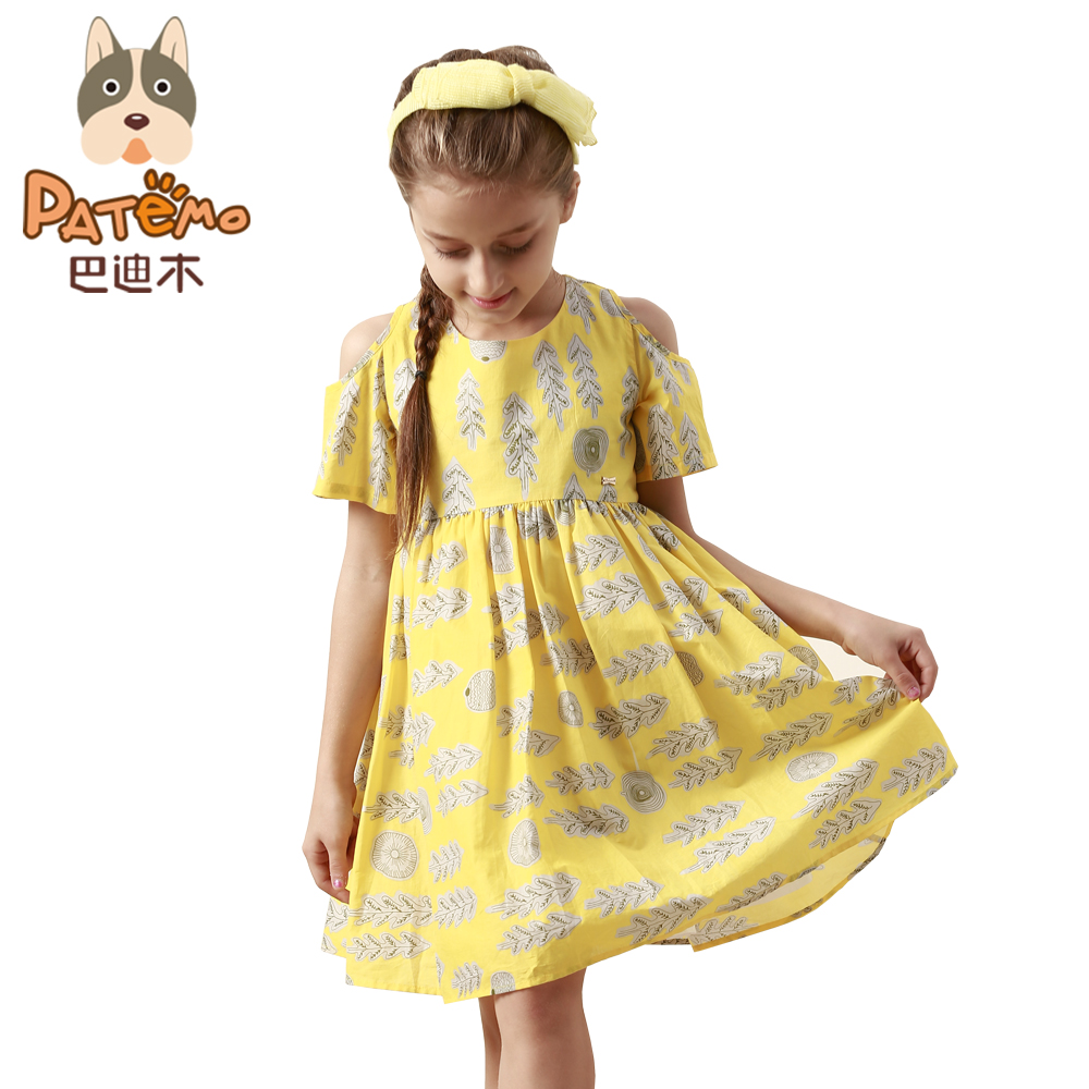 PATEMO Yellow Dress for Girls Cotton Dresses O-Neck Summer Flower Kids Dresses for Girls US Size 4T,5T,6T,8T,10T Korean женское платье summer dress 2015cute o women dress