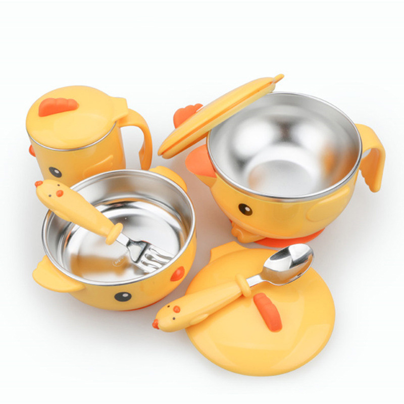Baby Tableware Set Stainless Steel Cute Cartoon Thermal Dishes Kid Hot Water Insulation Bowl Children Feeding Dinnerware MBG0372