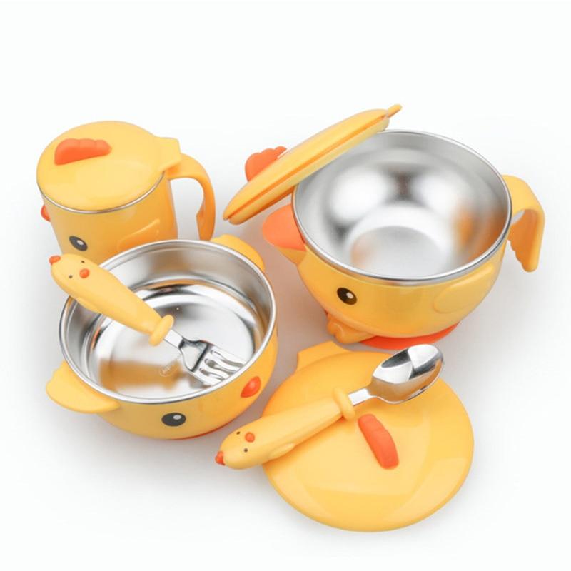 Набор детской посуды из нержавеющей стали, милая мультяшная термопосуда, детская термоизоляционная миска для горячей воды, Детская фотолаб...