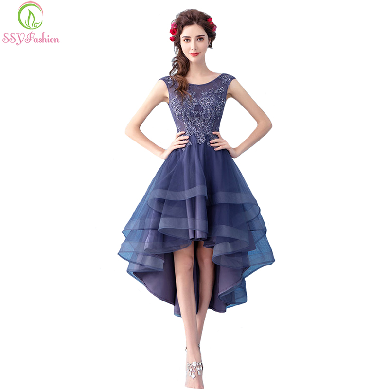 SSYFashion New Elegant Banquet Cocktail Dress Sleeveless Lace Flower High/low Asymmetrical Purple Party Gown Formal Dresses