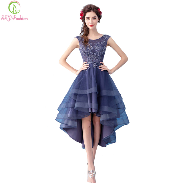Ssyfashion New Elegant Banquet Cocktail Dress Sleeveless Lace Flower