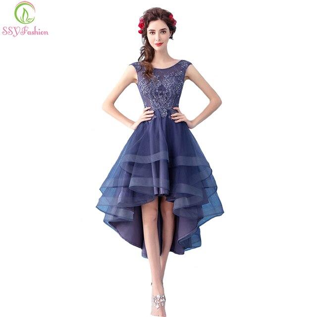 09fca633d SSYFashion nuevo elegante banquete cóctel vestido sin mangas encaje flor  alto bajo asimétrico púrpura vestido
