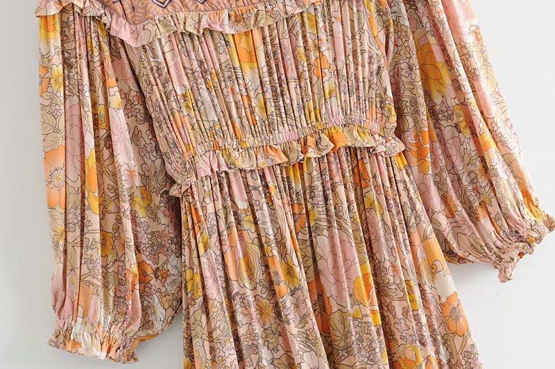 V-Neck Sasches Ruffles Floral Print Boho Dress 16
