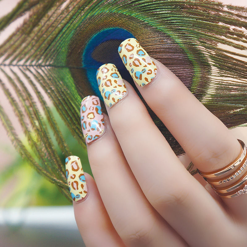 2016 New Cute Leopard Design Nail Art Sticker Diy French Adesivi