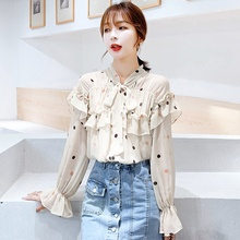 Fashion Women Blouses 2019 Autumn New Fashion Apricot Bow Polka Dot Printed Ruffled Chiffon Shirt Blouse Blusas polka dot ruffled longline t shirt