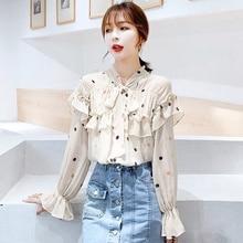 Fashion Women Blouses 2019 Autumn New Fashion Apricot Bow Polka Dot Printed Ruffled Chiffon Shirt Blouse Blusas цена и фото