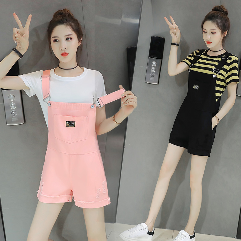 Fashion High-waisted Loose Women Denim Overalls Summer Female Lovely Pocket Jumpsuits Denim Overalls Shorts Pants