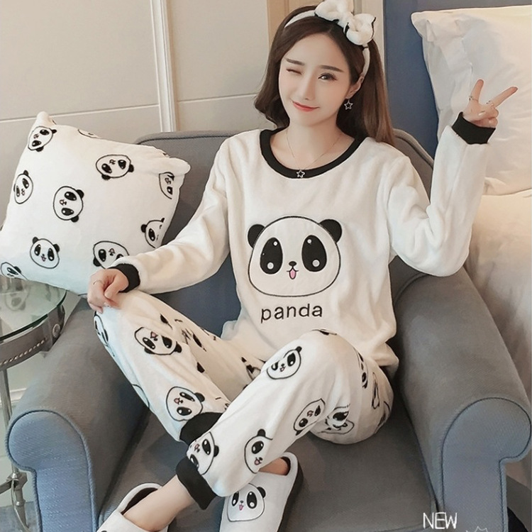 6668118b2b Thick Warm Flannel Pajamas Sets Winter Women Two Piece Pajama Set Cartoon  Female Sleepwear Home Clothing Women s Pajamas Suit-in Pajama Sets from  Underwear ...