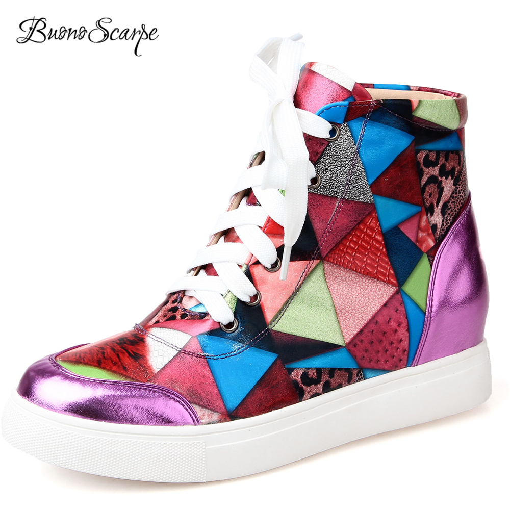 BuonoScarpe Lace Up Increasing Height Heel Casual Sneaker Shoes Platform Mixed Color Tennis Female Shoes Fashion Women Sneakers fashion lady flats platform shoes lace up height increasing white zapatillas woman brand casual shoes mixed red blue big size 10