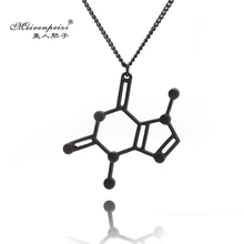 Serotonin Dopamine Caffeine Molecule Structure Caffeine Necklace Pendant Science Biochemistry Silver Gold Black plated Jewelry