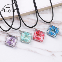 Luyun Dried Flower Crystal Necklace Gothic Plant Wholesale Free Shipping