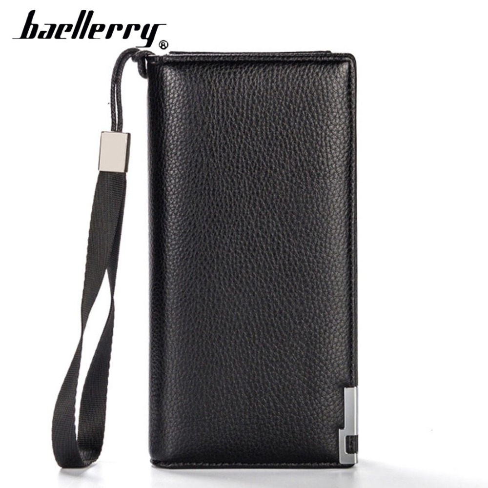 Baellerry PU Leather Men Wallets 12 Card Holders Top Quality Zipper Phone Pocket Men Purse Solid Fshion Brand Men Clutch Bag brand baellerry business men s leather wallets solid zipper purse portable cash purses male clutch phone bag male wallets