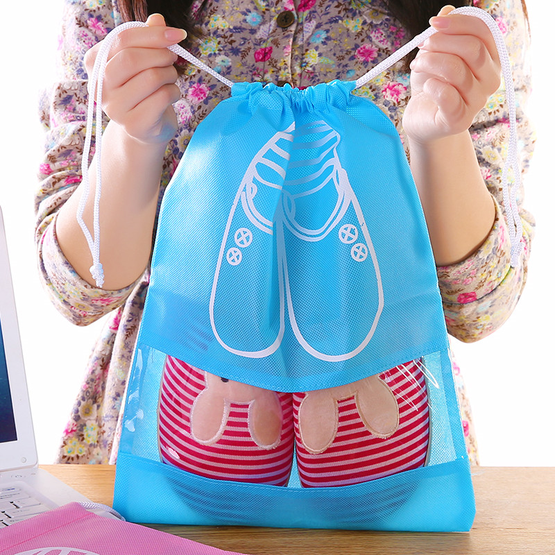 Storage Bags Home Sport Shoes Storage Bag Dust Pouch Travel Bag Portable Tote Drawstring Bag Organizer Cover Non-woven Laundry Organizador
