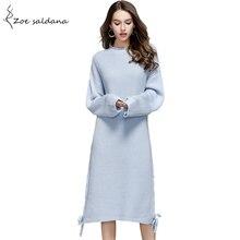 Зои салдана 2018 женское платье осень o-образным вырезом с длинным рукавом негабаритных свитер вязаный Платья для женщин сбоку Кружево до колен Vestidos