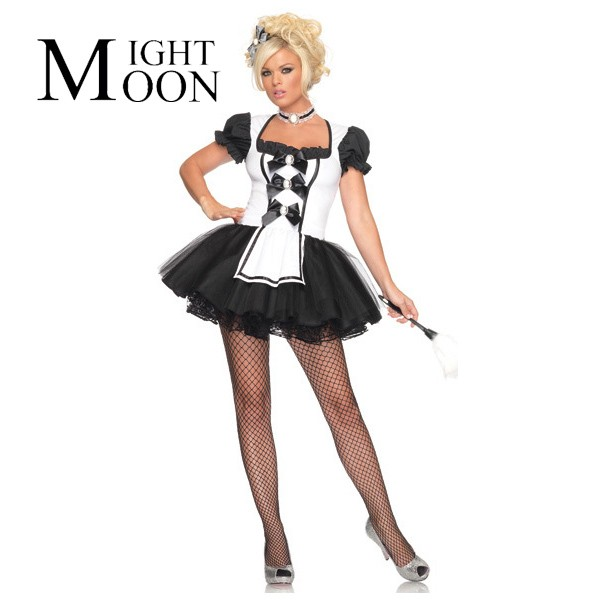 1023c07cb0ce3 US $15.74 20% OFF|MOONIGHT Servant Women Cosplay Black With White Color  Party Halloween Fancy Dress Short Sleeve Sexy French Maid Costumes-in Sexy  ...