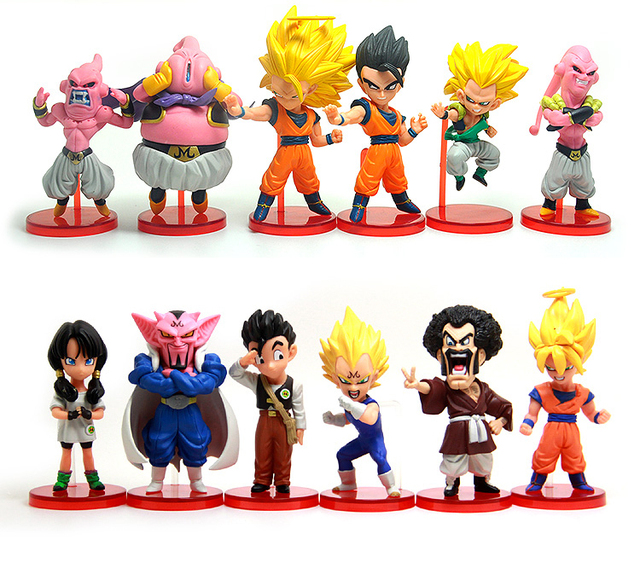 12 Pcs Dragon Ball Super Saiyan 3 Son Goku Gohan Vegeta Videl Majin Buu Gotenks Hercule