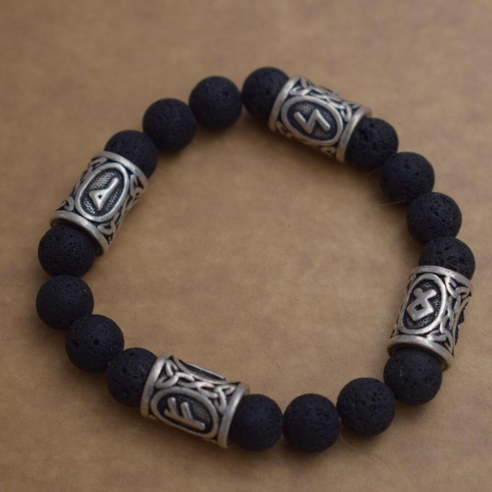 SanLan Viking Rune Lava Bead Bracelet Men Explorer Stone Charm Bracelet meaning success and final success good gift