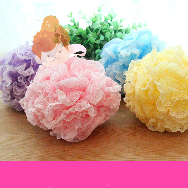 Multicolour lace bath ball towel scrubber body cleaning mesh