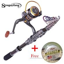 Spinning Fishing Rod 1.8m-3.3m Feeder Carbon Fiber Telescopic Fishing Rod Set with Reel Travel Carp Fish Pole Bamboo Tackles
