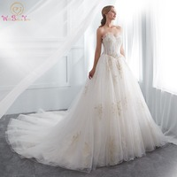 Wedding Gowns for Bride Walk Beside You 2018 Gorgeous Sweetheart Tulle Gold Lace Applique Beads Ball Gown Princess Wedding Dress