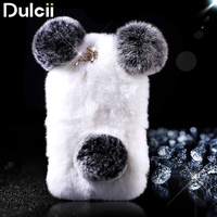 Capa Coque Funda For IPhone 6s 6 Panda Shape Warm Rabbit Fur Pearl Rhinestone Hard Case