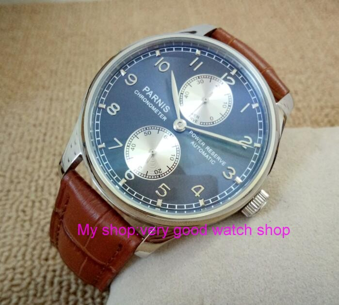 43MM PARNIS Automatic Self-Wind movement blue dial power reserve men's watch brown Leather Strap Mechanical watches 174a  casual 43mm parnis automatic power reserve white dial blue numbers silver watch case business watch men